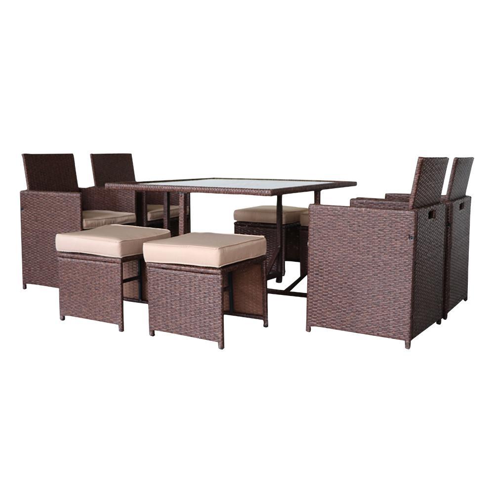 Waco 9 Piece Patio Garden Diesing Set, PE Wicker Rattan Открытая мебель, W / 4 стулья, 1 стеклянный стол, 4 османки, дерево