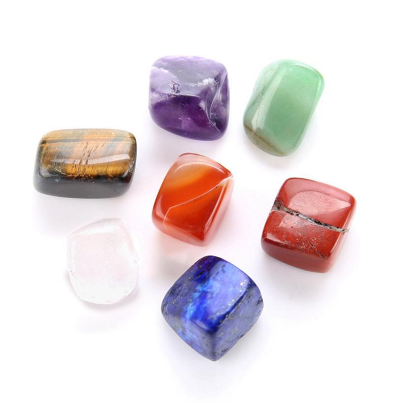 7pcs Set Beautiful Chakra Natural Stones Palme Reiki Cristaux Cristaux Gemstones Accueil Décoration Accessoires Bons cadeaux EEB5634