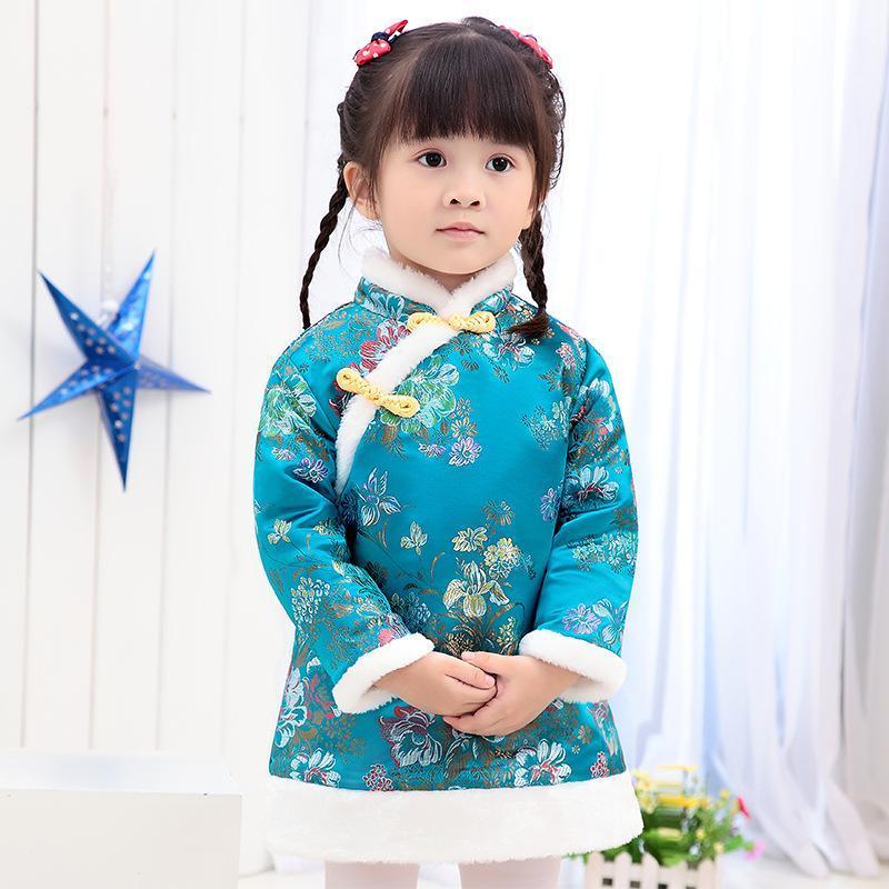 Ropa étnica bebé niñas floral festival vestido invierno acolchado calentador chica abajo chaqueta chi-pao vestidos niños cheongsam Qipao Outwear Blo