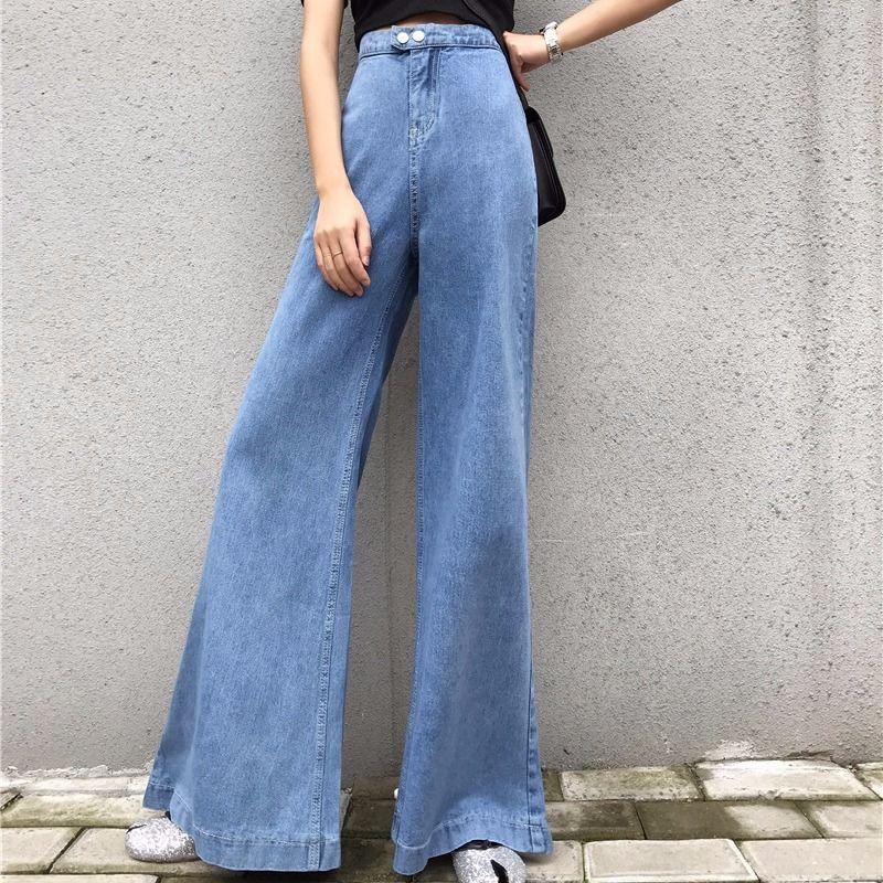 Kadın Pantolon Capris Baggy Yaz Pantolon Bayan Geniş Bacak Çan Alt Yüksek Bel Flare Bayanlar Kot Kadınlar için 2021 Pantalon Femme