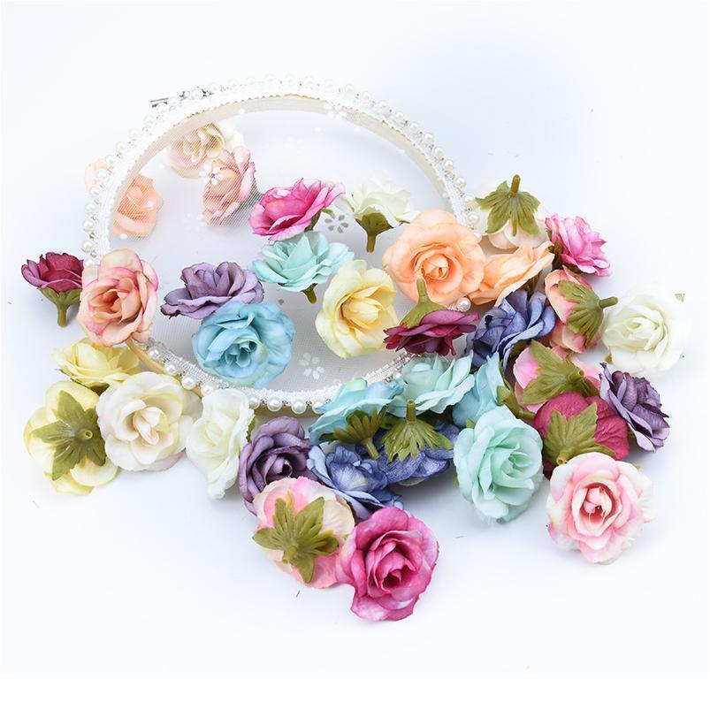 10pcs 4cm 여러 가지 빛깔의 장미 꽃 벽 인공 식물 장식 꽃 화환 DIY 선물 상자 스크랩북 결혼식 호 QYLXIC