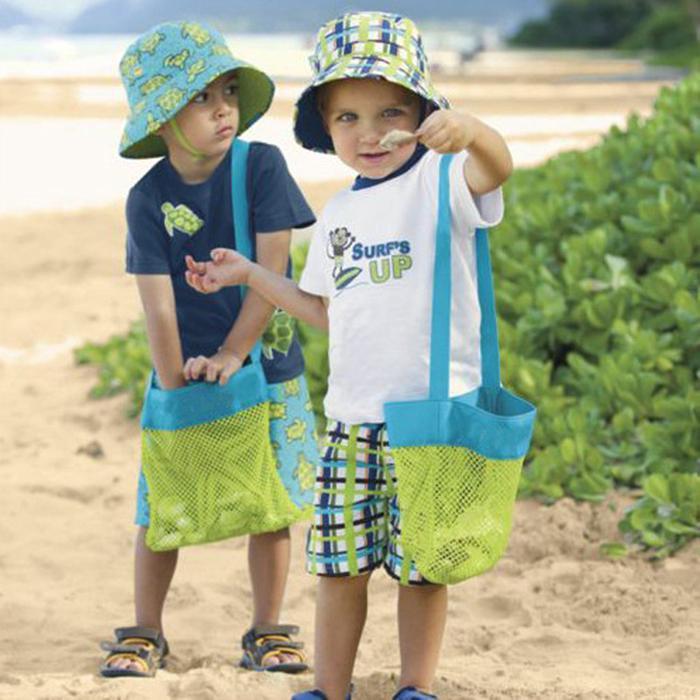 Colors Bag Beach Mesh Bag Pouch Kids Children Fun Toys Sea Shell Storage shoulder Bag Beach Fun
