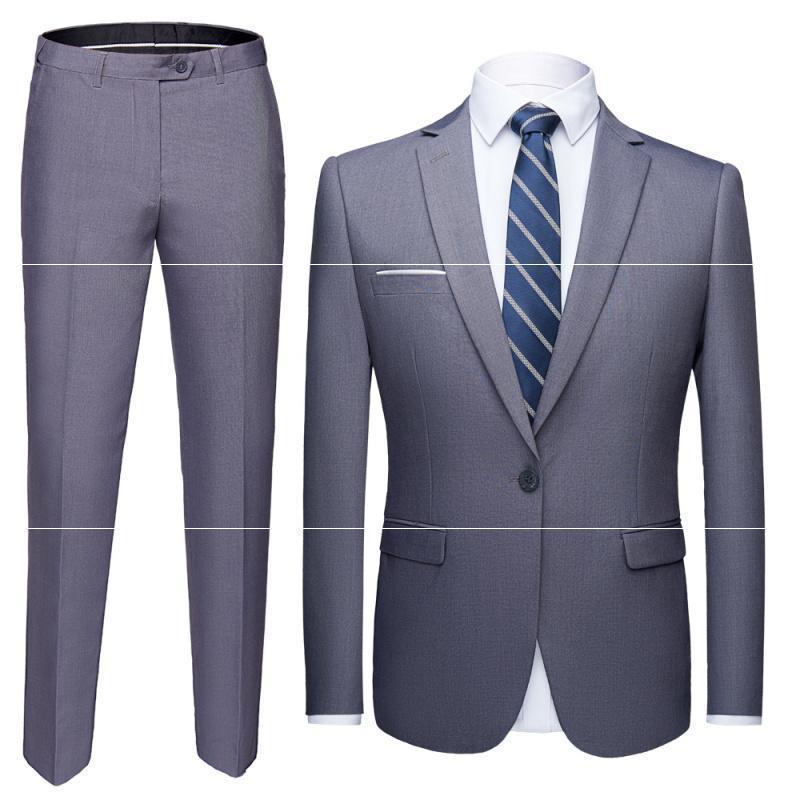 Erkekler Takım Elbise Blazers 2 Adet İş Takım Elbise Ceket + Pantolon Sonbahar Moda Katı Renk Slim-Fit Düğün Retro Klasik Jacketmen2021