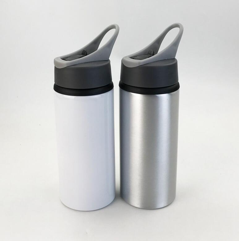 Sublimação de alumínio em branco garrafas de água 600ml chaleira resistente ao calor esportes capa branca copo grande boca bocal de sucção mar frete WWA173
