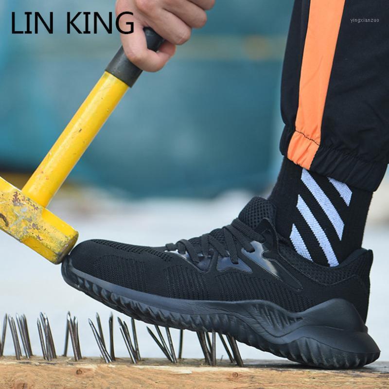 Botas Lin King Design Safety Work Shoes para Hombres Anti-Piercing Steel Toe Hombre Construcción al aire libre Sneakers Big Tamaño 481