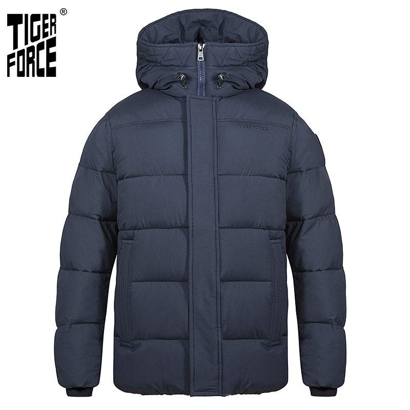 Tiger Force мужская зимняя куртка с капюшоном средняя длина моды Parka мужская пуховик с капюшоном повседневная утолщение теплого пальто 70750 210222