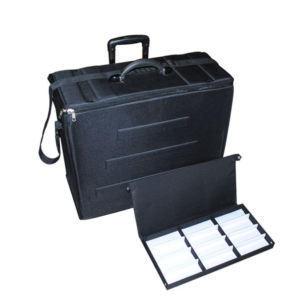 Sunglass quadro óptico Eva mala de armazenamento de malha de óculos de exposição de exposição de exposição de eyewear saco de transporte com rodas de puller telescópicas