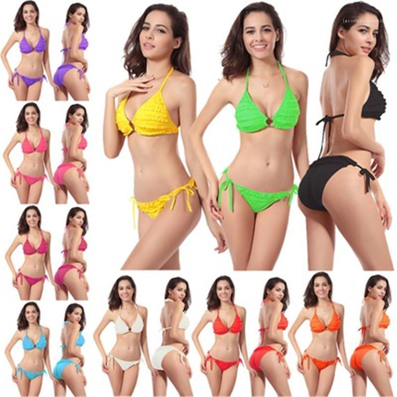Пляж с грудной площадкой бикини комплекты женские сплошные цвета купальники моды тенденция собирают грудные бюстгальтеры короткие сплит бикини купальники летнее женское