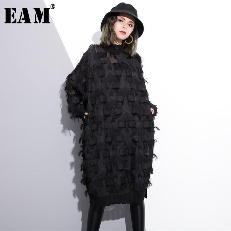 [EAM] 2021 Yeni Bahar Sonbahar Standı Yaka Uzun Kollu Perspektif Siyah Gevşek Püsküller Büyük Boy Elbise Kadın Moda Gelgit Ji780 210303