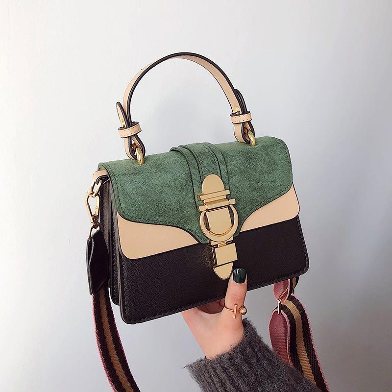 Senhoras Nova Bolsa Coreana Marca Fashion Lock Hit Color Single Ombro Messenger Bag Mulheres Pu couro Luxury Designer Bags