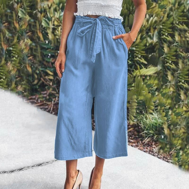Yoga Outfit Women's Solid Color Casual Jeans Pants Plus Size Loose Wide Leg High Waist Pantalon Vaquero Mujer 2021#32