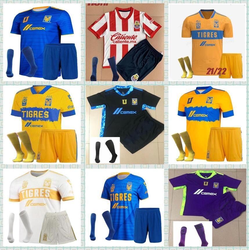 2021 2022 México UANL Tigres Jersey 7 Estrelas C.Salcedo Gignac Vargas Pizarro Camisa de Futebol 3º Home Away Camiseta Adulto Kids Kit