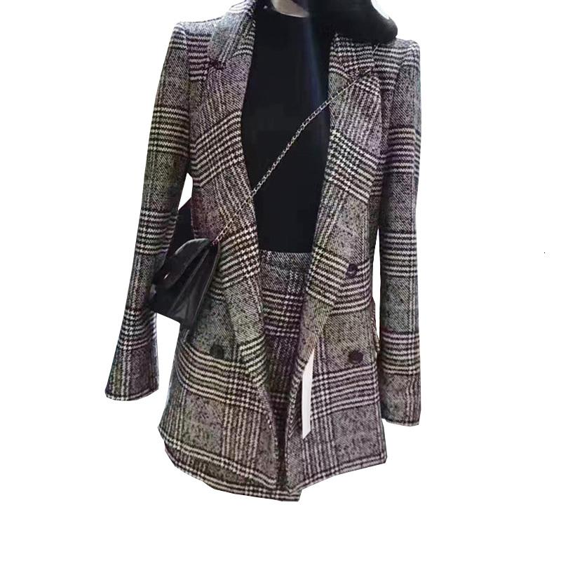 Lässige Frau 2021 Herbst und Winter Langhülse Schachfigur Mode Tweed Jacke Zweiteilige Klage Rock Yudc