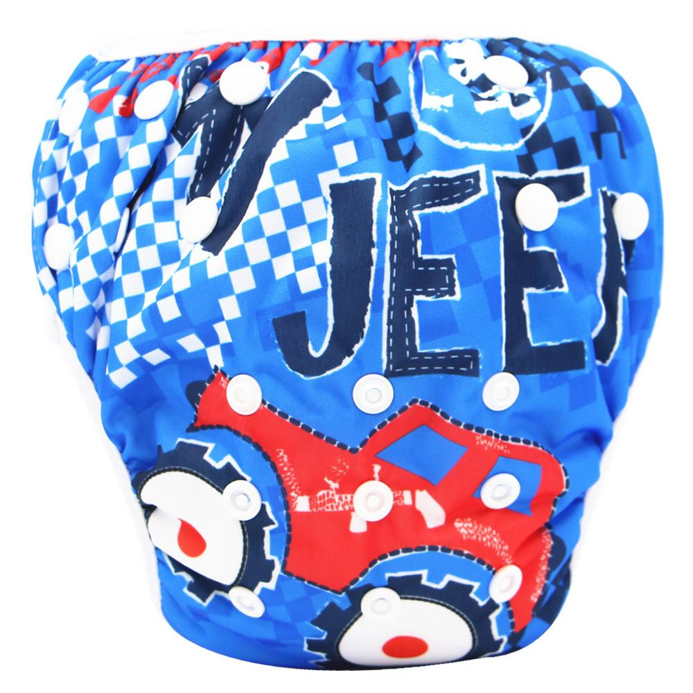 아기 수영 트렁크 어린이 만화 방수 기저귀 스냅 디자인 조정 가능한 크기 누수 증거 기저귀 바지 헝겊 기저귀