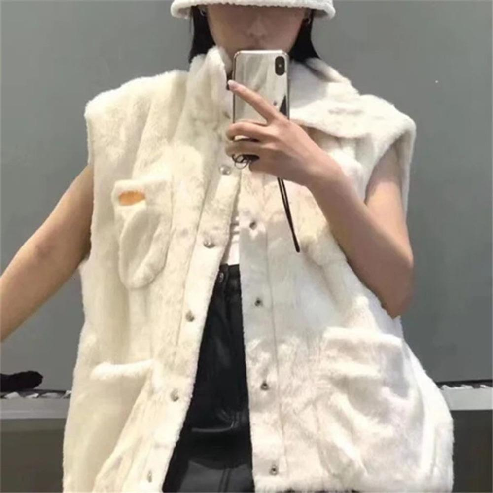 Elegant Faux Fur Long Vest Women Winter Sleeveless Loose Jacket Coat Fashion Stand Collar Single Breasted Female Waistcoat 2020