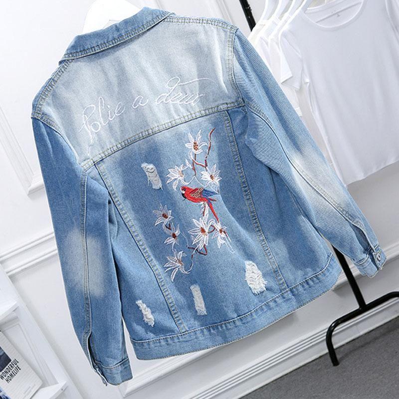Plus Size Denim coats Women clothes Jean Coats Streetwear Vintage flower embroidery jackets women Fat mm lady jackets 2020