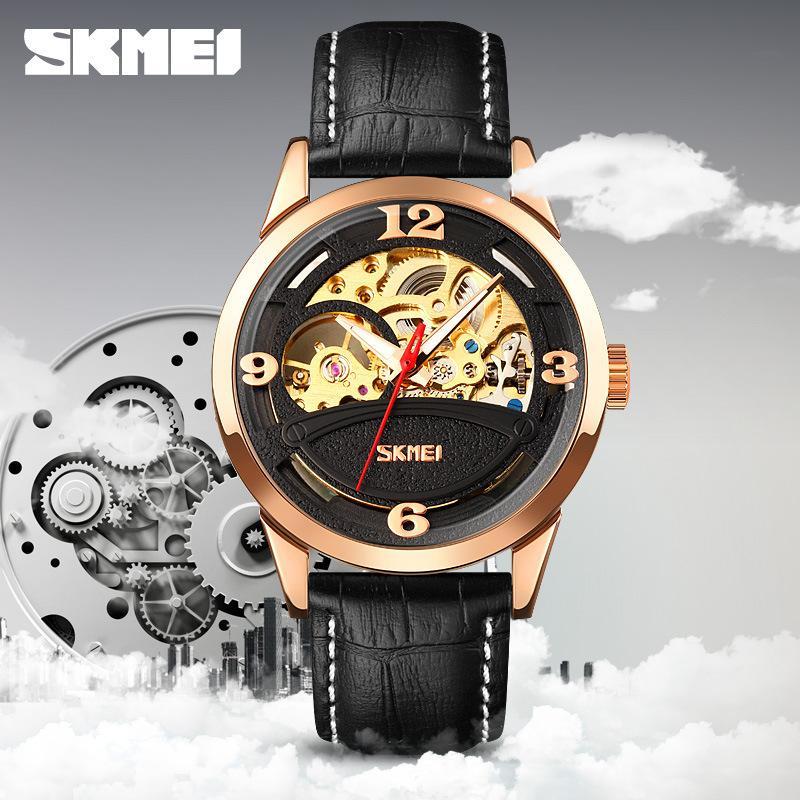 Время красоты мода мужская бизнес автоматическое движение школьник полые водонепроницаемые механические часы