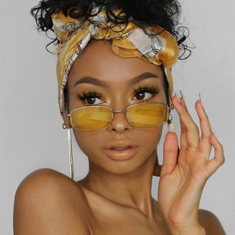 Occhiali da sole vintgae Rettangolo giallo Donne da donna 90 Cool Piccolo telaio Occhiali da sole per 2021 Specchio in metallo carino