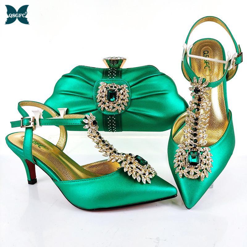 2021 En Son Asil ve Elegangt Moda Özel Stil Bayan Ayakkabı Ve Çanta Parti ve Düğün için Yeşil Renkli Set 210225