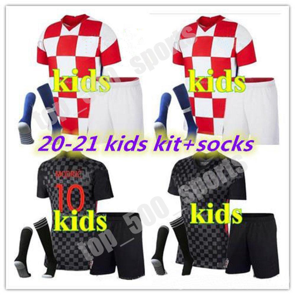 2020 2021 소년 청소년 축구 유니폼 국립 대표팀 PERISIC 20 21 Mandzukic Rebic Kits 축구 셔츠 Rakitic Kids Kit 유니폼