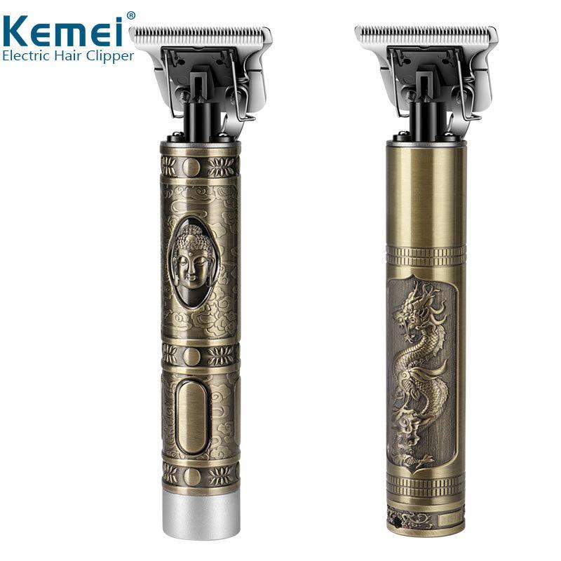 Kemei KM-1974A Profesyonel Saç Kesme Kuaför Saç Düzeltici Erkekler Için Retro Buda Akülü Kenar Elektrikli Saç Kesme Makinesi 210302