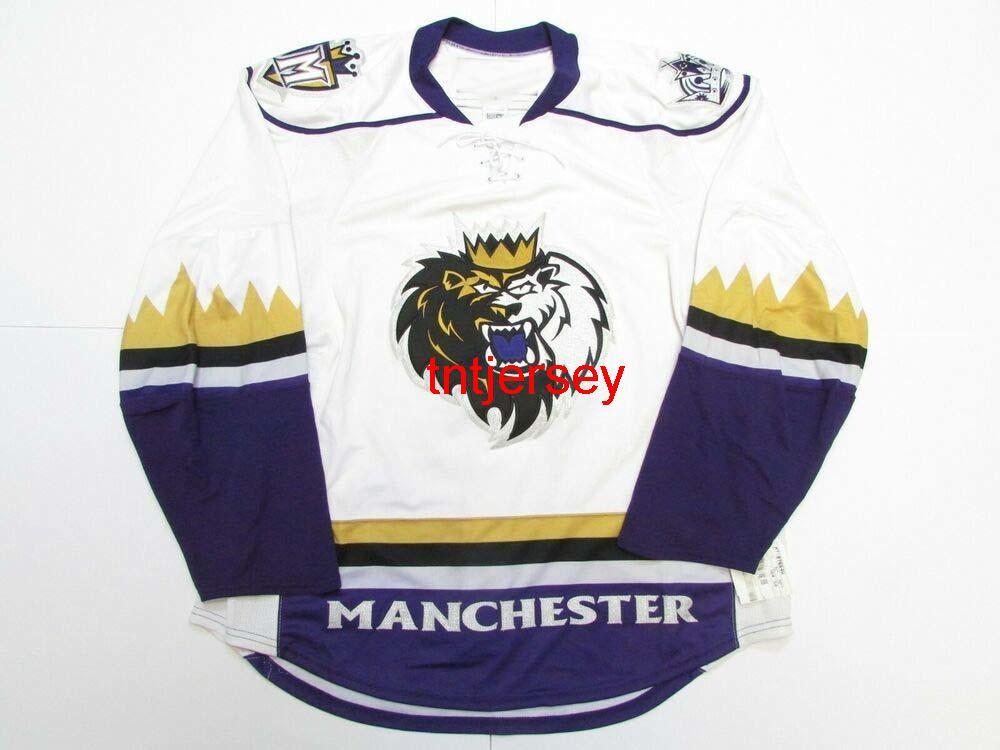 Dikişli Özel Manchester Monarchs Ahl Hokey Jersey Herhangi bir Ad Numarası Ekleyin Erkek Çocuklar Jersey XS-5XL