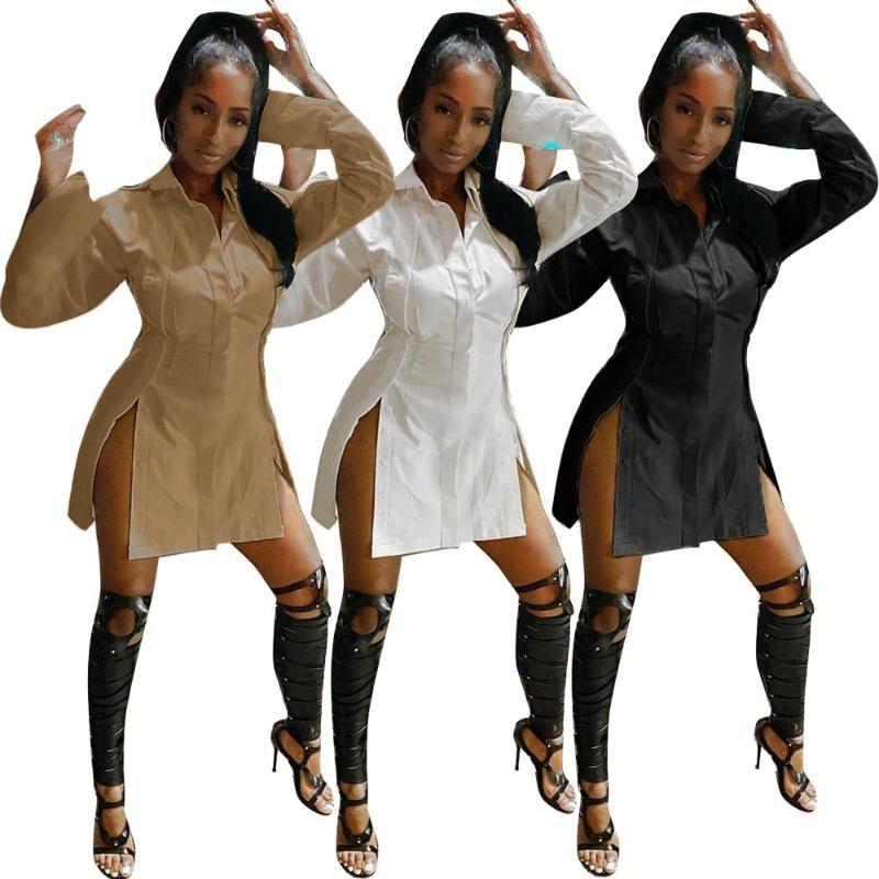 Casual Kleider Echoine Herbst Herbst Hemd Mini Split Kleid Sexy Patchwork Unregelmäßigen Weiß Black Party Club Vestidos Streetwear