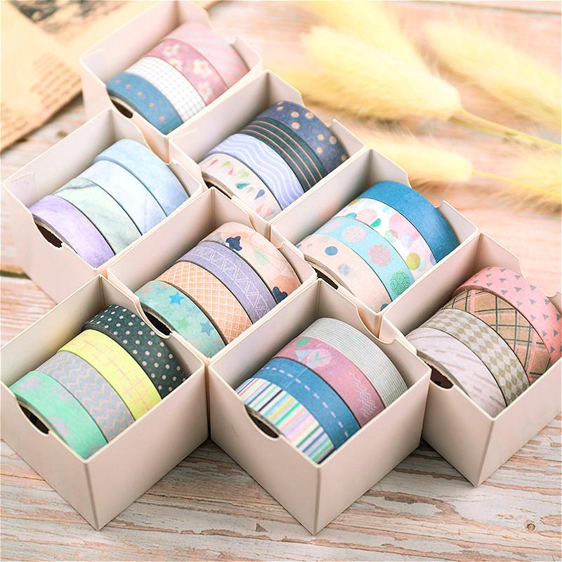 3Pieces/Lot 4pcs/set DIY Decorative Scrapbook Masking Tape Solid Color Paper Tape Washi Tape Stationery Sticker Label Office Adhesive