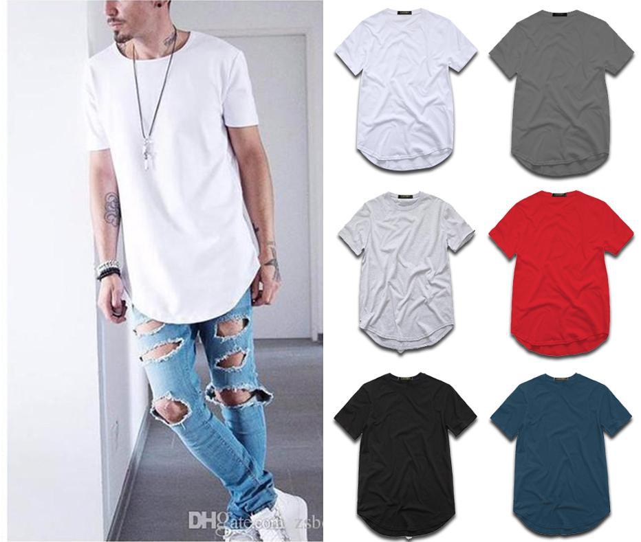 La camiseta de algodón extendida de la moda de los hombres Hip Hop Tee Shirts Wag Harajuku Rock Tshirt Homme Streetwear T SHIRT TX145 RF
