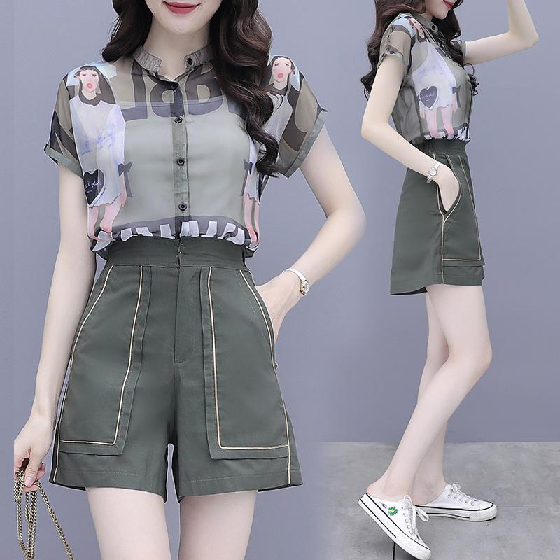 Chiffon Girl Set Shirt+pants Short Sleeve Printed Two Piece Set Fashion Casual Blouse Wide Leg Pants Summer Women Suits