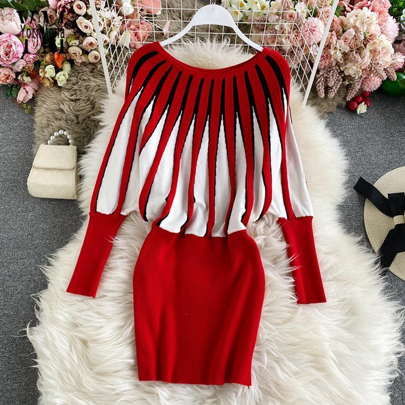 Big Sale Autumn Winter Women Knitted Bodycon Dress Fashion Pullover Mini Sweater Dress Elegant Christmas Party Dresses J72