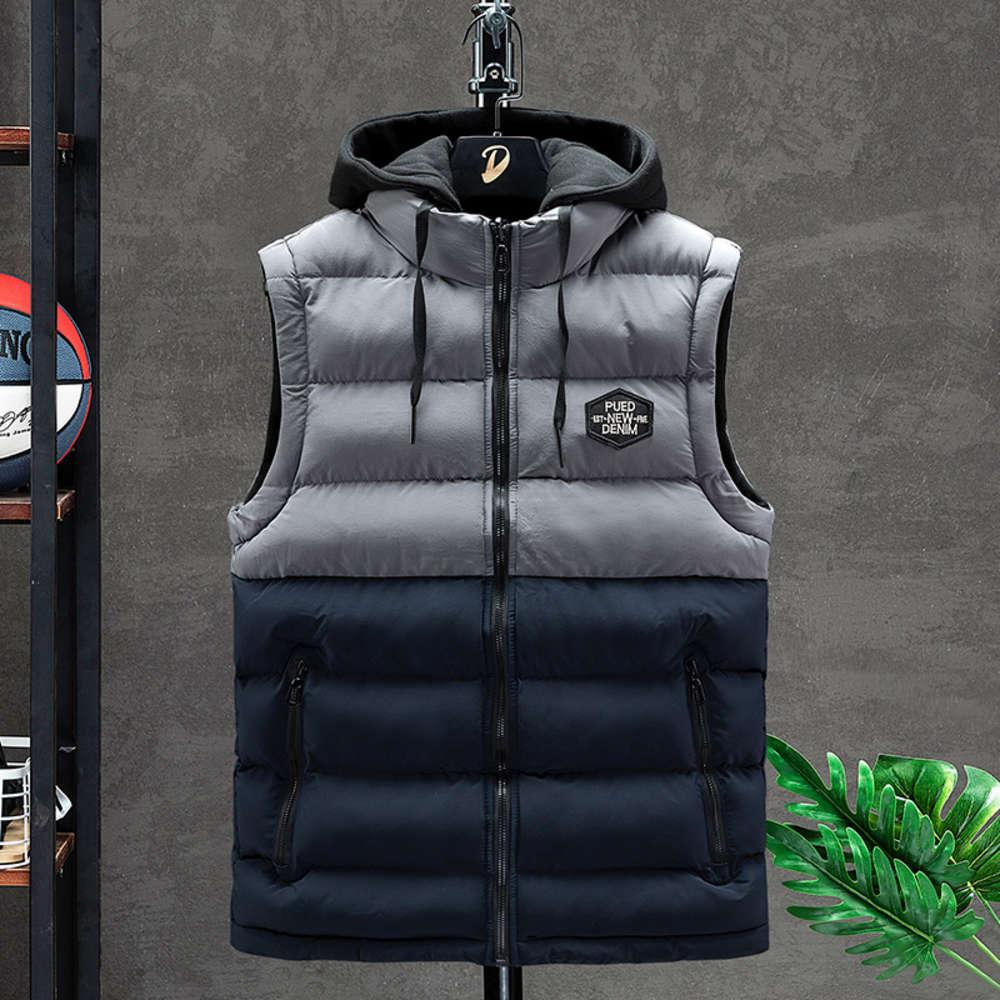 Sleeveless Jacket Men Down Mens Warm Thick Hooded Coats Male Cotton-Padded Work Waistcoat Gilet Homme Vest