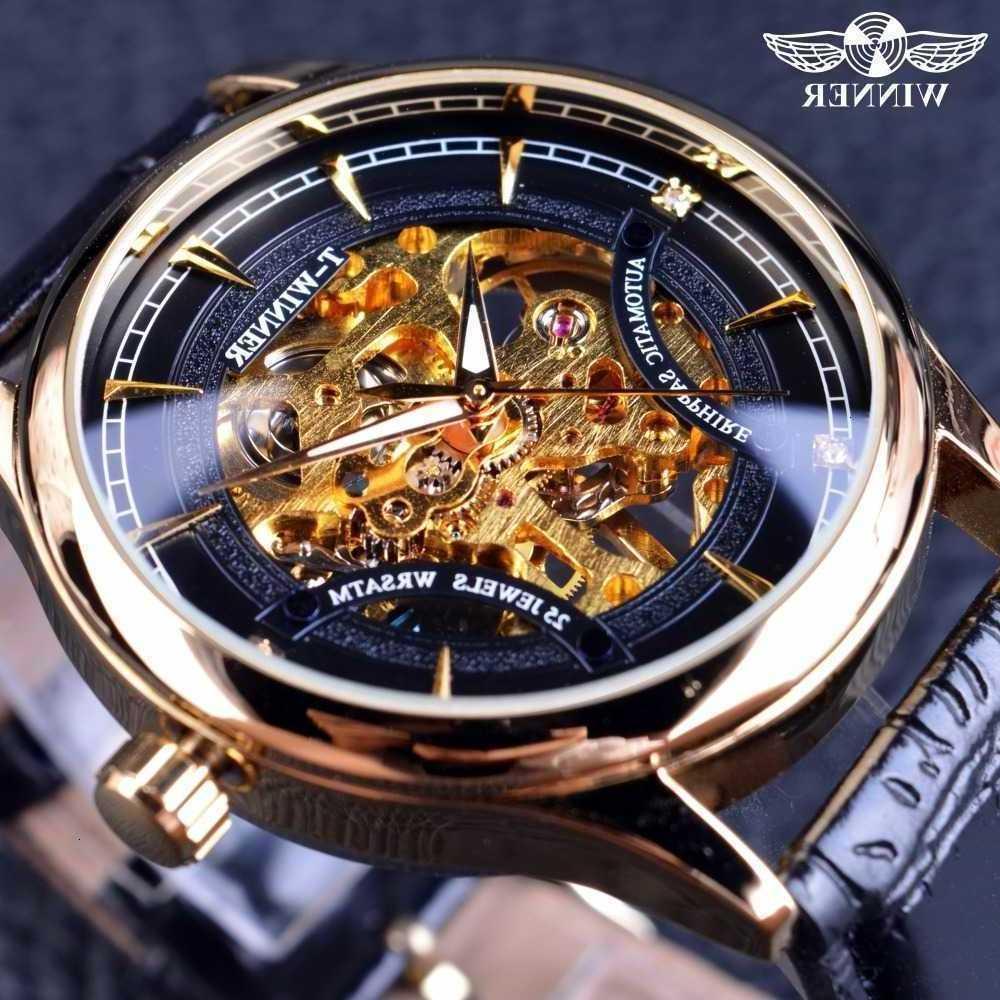 Победитель мода черный золотой звездный роскошный дизайн джентльмены лучший бренд роскошный механический скелет часы человека Polshorloge