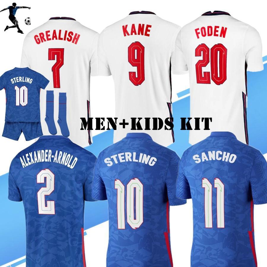 الرجال + Kids Kit 20 21 Kane Rashford Sancho Grealish Soccer Jersey 2021 Sterling Mount Abraham Dele Coady National Team Shirts