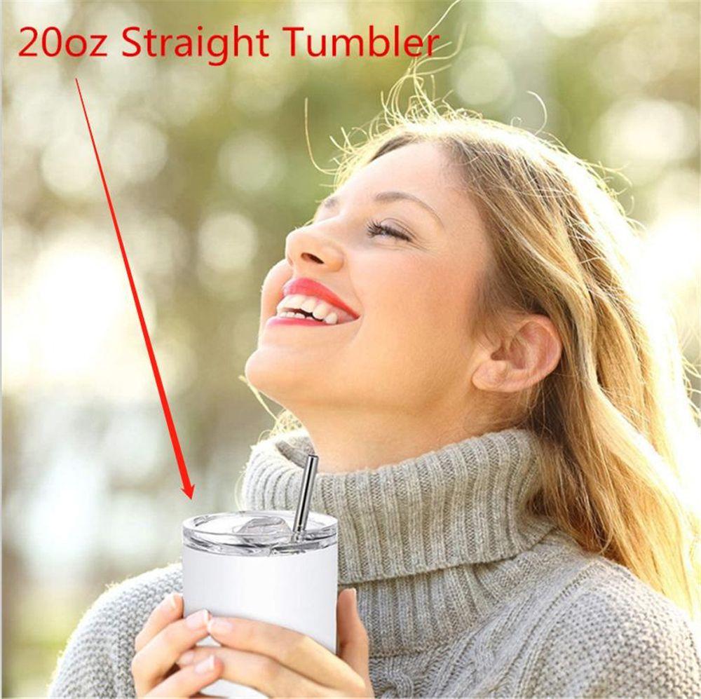 Em estoque 20oz diy sublimação direto tumbler magro com porta-voz da borracha de palha de metal e pincel de palha Doubel Wall Thormos Cups