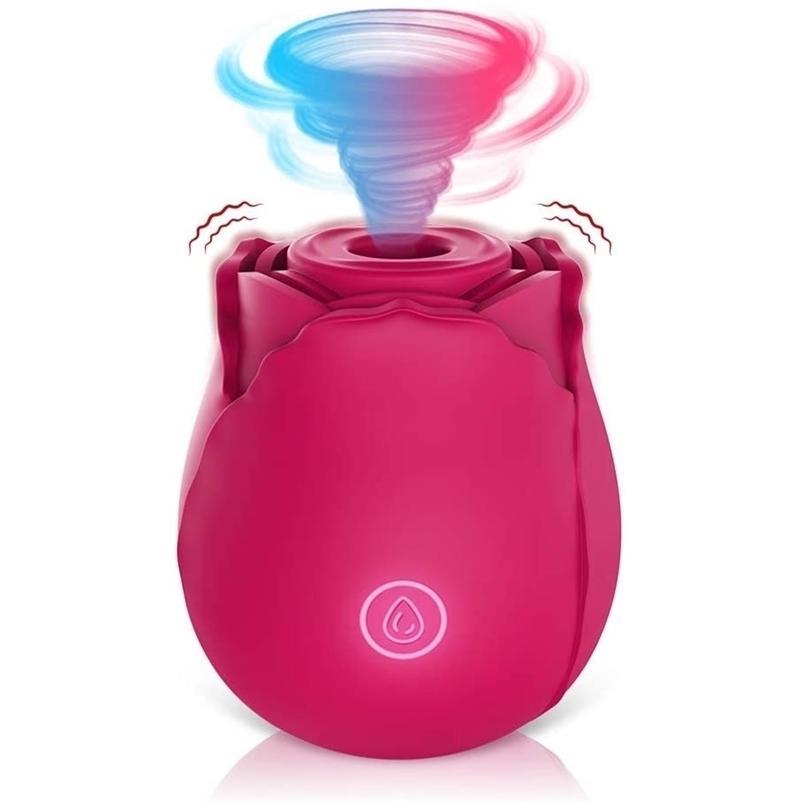 Vibrador de succión del clítoris con 7 intensa succión impermeable a prueba de agua Clít de Rose Smoking Nipple Estimulador Juguetes sexuales para mujeres Oral 210623