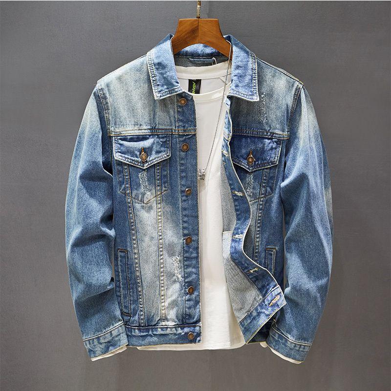 Spring Autumn Classic Retro Blue Washed Denim Jacket Coats Men's Casual Slim-fit Bomber Jeans Plus Size 5xl