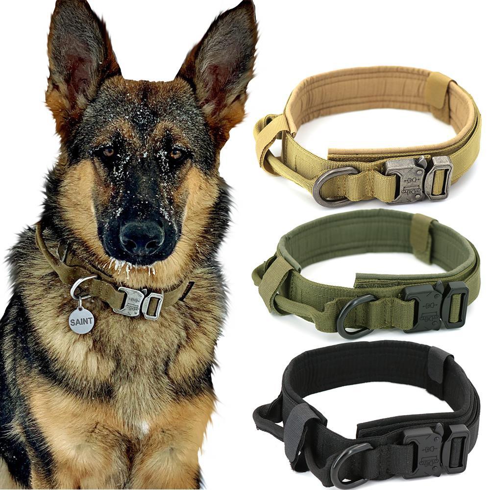 Hundekragen einstellbar militärische taktische Haustiere Hundekragen Leine Kontrolle Griff Training Pet Cat Hundekragen für kleine große Hunde