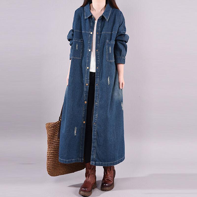 المرأة الخندق معاطف 2021 ربيع الخريف طويلة الدنيم معطف المرأة مزدوجة الصدر ضئيلة أنثى أبلى الأزياء سترة واقية قميص