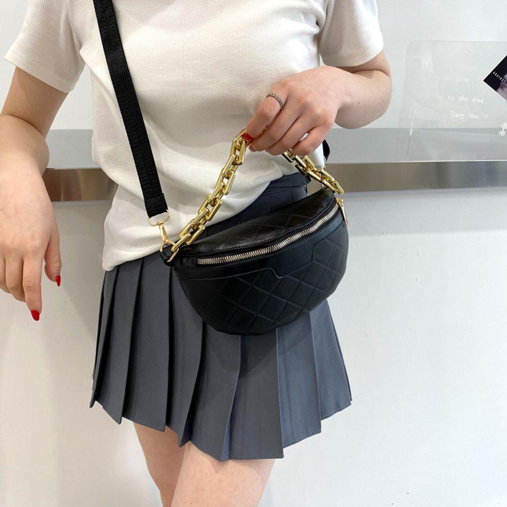Vintage Frauen Crossbody Tasche Lässig PU-Leder Pure Farbe Kette Taille Brust Taschen Geldbörsen Reise Kreuz Körper für Dame