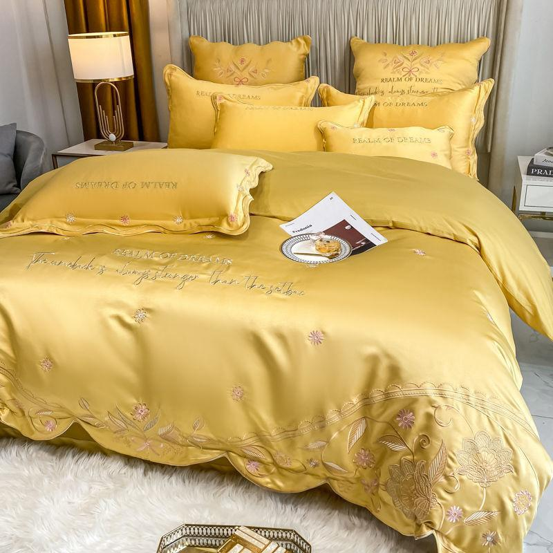 Bedding Sets Princess Full Queen King Silk Cotton 4Pcs Set Duvet Cover Pillowcase Flat Sheet Or Fitted Bedspreads Bedclothes