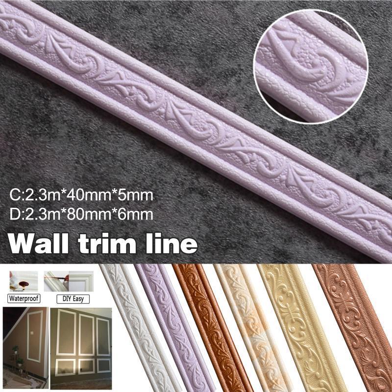 Patrón 3D Etiqueta engomada de la pared Línea de ajuste de borde Frontera Decoración Auto adhesivo P7ding