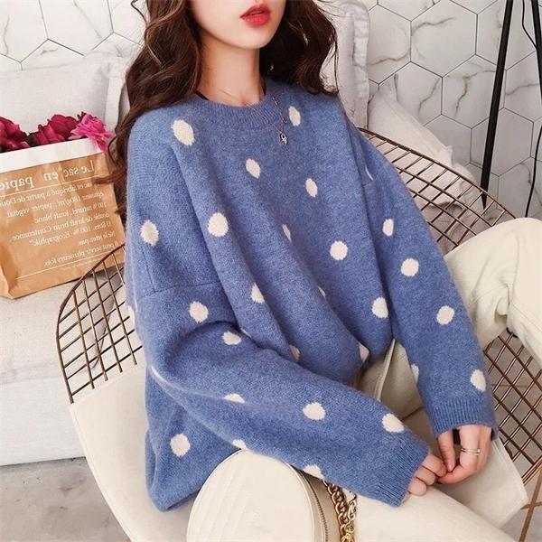 Qrwr 2020 осень зима женщины свитер новый корейский стиль o шеи точка вязаный свободный с длинным рукавом сплошной цвет пуловер свитера женские C0302