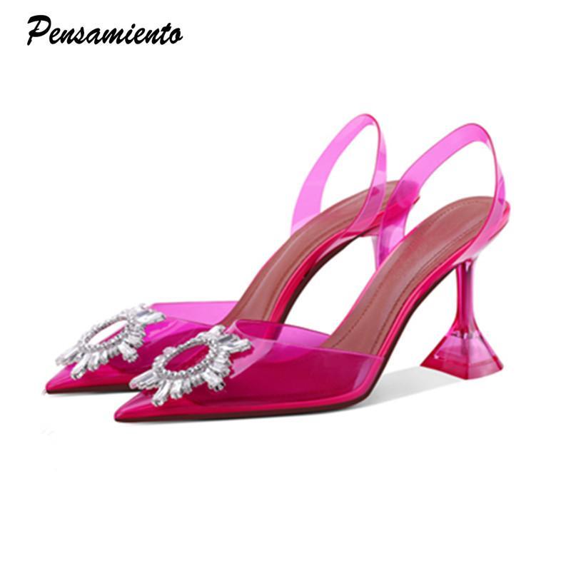 Süßigkeiten Farben Frauen Pumps Eleganter spitzer Zehe Slingback Sommer Büro Dame Schuhe Mode Kristall High Heel Brautkleid Schuhe 210301