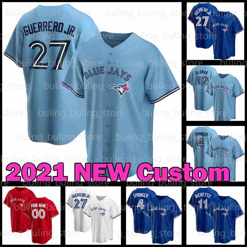 Jays Jerseys 4 George Springer Toronto 2020 2021 사용자 정의 27 Vladimir Guerrero Jr. 블루 Cavan Biggio Joe Carter Bo Bichette Alomar Baseball
