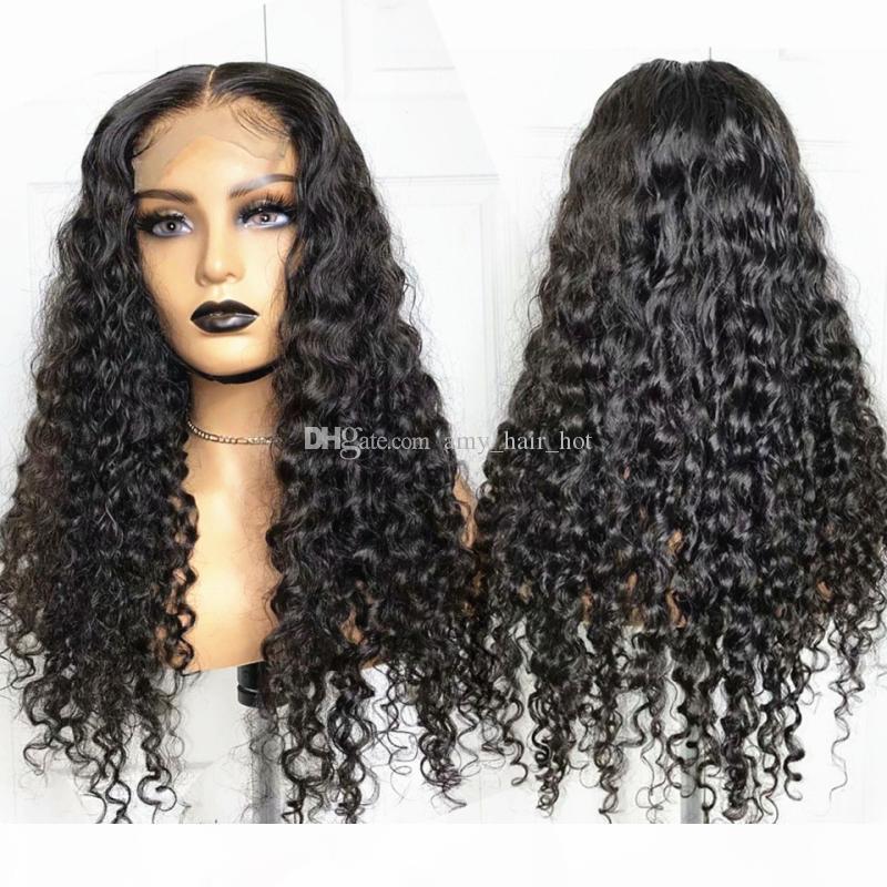 Kıvırcık 5x5 Ipek Üst Dantel Kapatma İnsan Saç Peruk Siyah Kadınlar Için Brezilyalı 13x6 Dantel Peruk 150 180 Yoğunluk Remy Saç Peruk