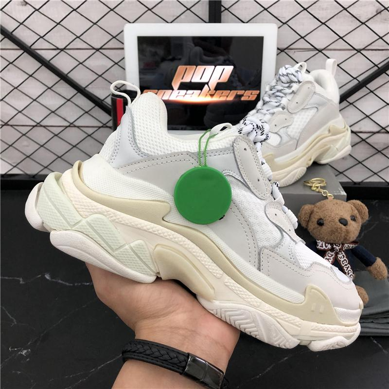 DHL Бесплатная Доставка Мода Париж 17FW Трехместный кроссовки для мужчин Женщины Черный Красный Белый Зеленый Случайные Папа Обувь Теннис Увеличение кроссовок