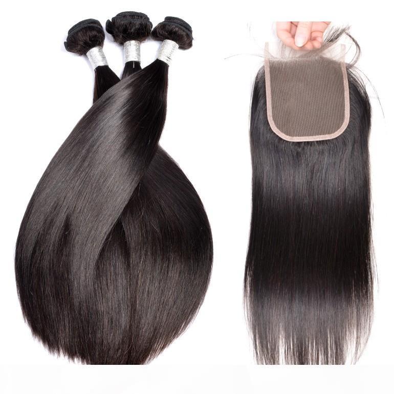 9A 100 처리되지 않은 인간의 머리카락 폐쇄 실크 스트레이트 브라질 페루 레미 헤어 묶음과 폐쇄