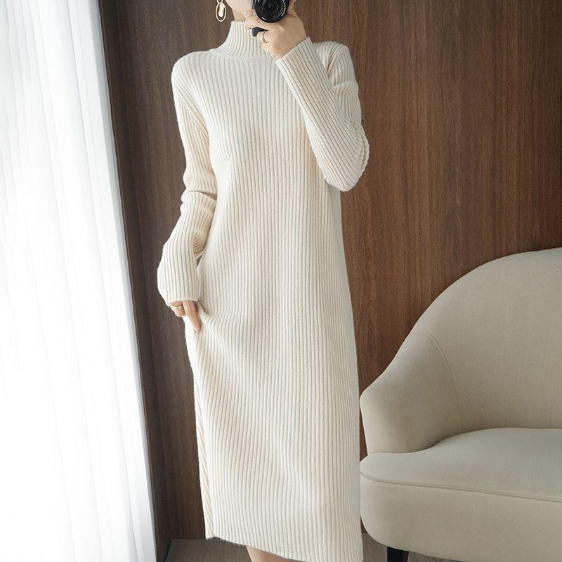 여성을위한 캐주얼 미어 맥시 스웨터 드레스 겨울 느슨한 여자 가운 긴 빈티지 드레스 니트 바디 콘 드레스 화이트