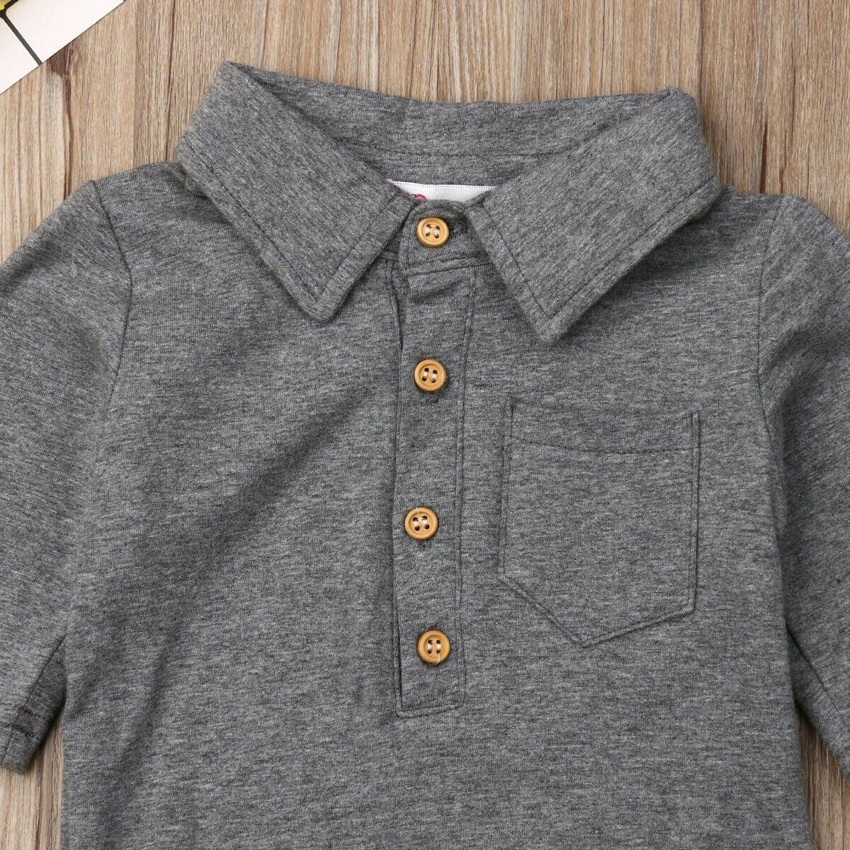 Baby Sommer Kleidung Infant Baby Boy Gentleman Feste Formale Bodysuit Kurzarm Down Kragen Hemden Jumpsuit Set